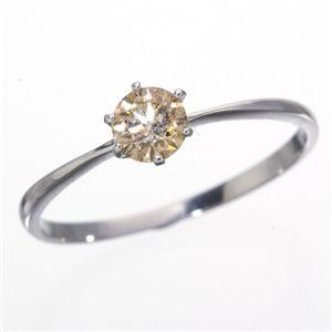 K18WG (ホワイトゴールド)0.25ctライトブラウンダイヤモンドリング(指輪)183828 15号 - 拡大画像