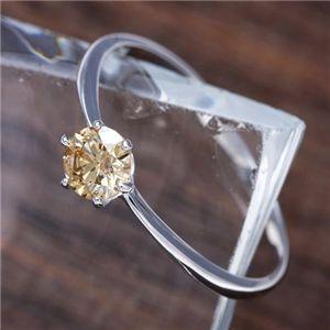 【受注生産発送】K18WG (ホワイトゴールド)0.25ctライトブラウンダイヤモンドリング(指輪)183828