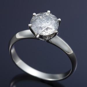 プラチナPt900 超大粒1.5ctダイヤリング 指輪 (鑑定書付き)  9号 - 拡大画像
