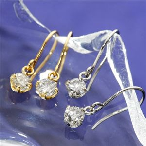 K18/0.2ctダイヤモンドピアス フックピアス ホワイトゴールド