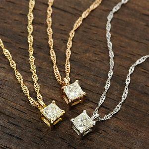 ダイヤモンドプリンセスカットペンダント ピンクゴールド(ピンク)の写真2