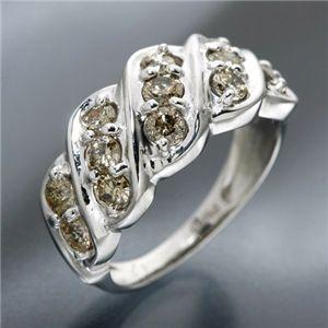 Pt100 ライトブラウンダイヤモンドパヴェリング(指輪)計1ct 157667 7号