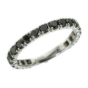 K18WG 1ctブラックダイヤリング 指輪 エタニティリング 15号 h02