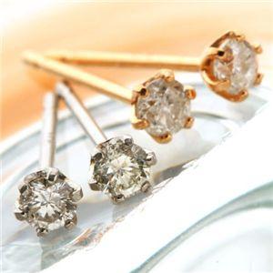 18金ピンクゴールド ダイヤモンドピアス 0.1ct&18金ホワイトゴールドダイヤピアス 0.1ct h01
