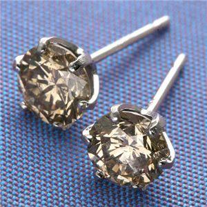 Pt900 計0.7ctライトブラウンダイヤモンド 一粒ピアス 122695 プラチナ - 拡大画像