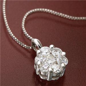 K18WG インビジブルセッティングダイヤモンドペンダント/ネックレス