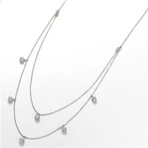 K18WG ダイヤモンド2連ステーションネックレス 計0.6ct