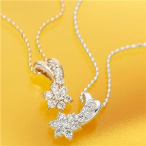【受注生産発送】K18PG スウィート10ダイヤモンドネックレス(18金 40cm) ホワイトゴールド/ピンクゴールド