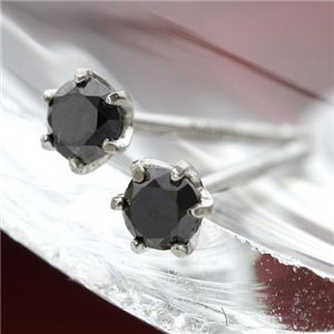 K18WG ブラックダイヤモンドピアス - 拡大画像