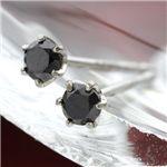 K18WG ブラックダイヤモンドピアス
