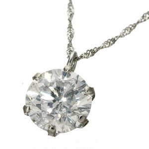 プラチナPt 1ctダイヤモンドペンダント/ネックレス(鑑別書付き) - 拡大画像