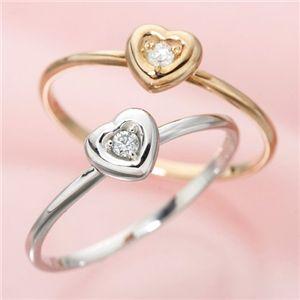 【受注生産発送】K10ハートダイヤモンドリング ピンクゴールド/ホワイトゴールド