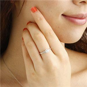 K18ホワイトゴールド0.7ct ダイヤリング 指輪 キャッスルリング 19号