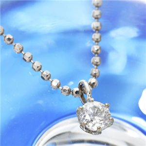 K18ホワイトゴールド0.1ct ダイヤモンドペンダント - 拡大画像
