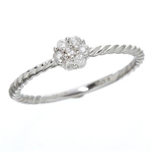 K14ホワイトゴールド ダイヤリング 指輪 17号 h01