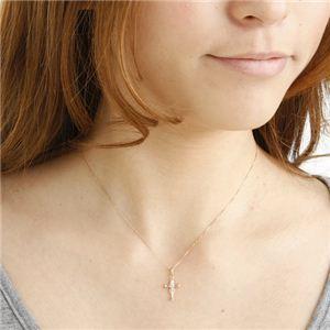 10金ピンクゴールド(K10PG) クロスダイヤモンドペンダント/ネックレス h03