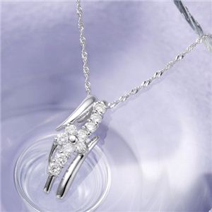 18金ホワイトゴールド(K18WG) ダイヤモンドペンダント - 拡大画像