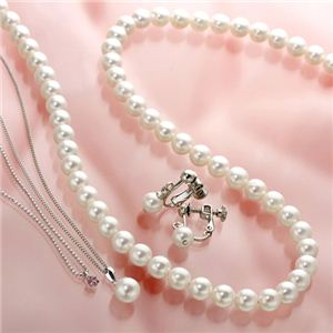 あこや真珠使用 パールネックレス & パールイヤリング & パールペンダント 3点セット ピンクトルマリンのペンダント付き h01