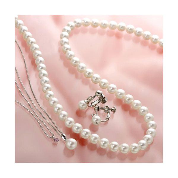 あこや真珠使用 パールネックレス & パールイヤリング & パールペンダント 3点セット ピンクトルマリンのペンダント付きf00