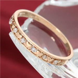 K10ピンクゴールド ダイヤリング 指輪 ハートリング 9号