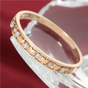 K10ピンクゴールドダイヤリング指輪ハートリング13号