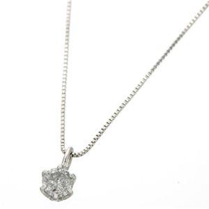 0.1ctダイヤモンドペンダント/ネックレス(ベネチアンチェーン) 18Kホワイトゴールド - 拡大画像