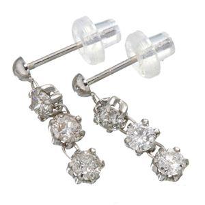 ホワイトゴールド0.6ctダイヤモンド3ストーンピアス