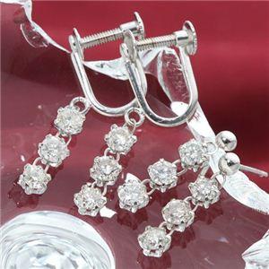 ホワイトゴールド 0.6ctダイヤモンド3ストーンイヤリング