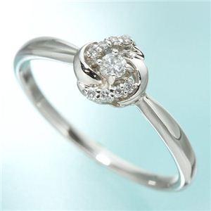 プラチナ0.09 ダイヤリング 指輪 フラワーリング 9号 - 拡大画像