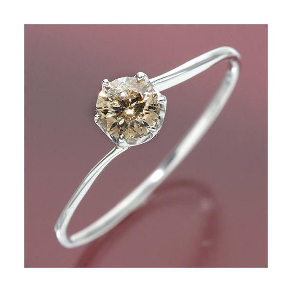 シャンパンカラーのダイヤモンドリング