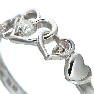 ハート透かし合計0.08ctダイヤリング 指輪 17号