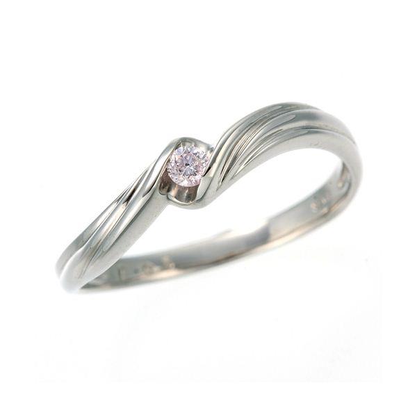 0.05ctピンクダイヤリング 指輪 ウェーブ 17号f00