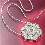 K18WG 合計1ctダイヤモンドペンダント/ネックレス
