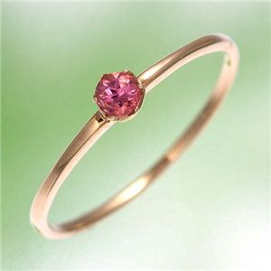 K18YG(イエローゴールド) ピンクトルマリンリング 指輪 15号