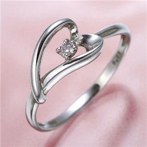 ピンクダイヤリング 指輪 ハーフハートリング 17号 - 拡大画像