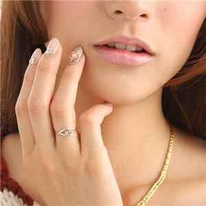ピンクダイヤリング 指輪 ハーフハートリング 17号
