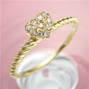 【受注生産発送】K18YG(イエローゴールド) ダイヤモンド ハートパヴェリング