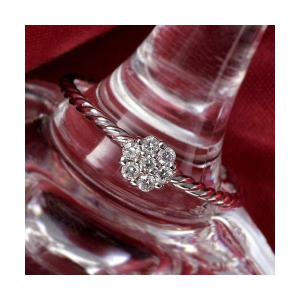 K14WG(ホワイトゴールド) ダイヤリング 指輪  セブンスターリング 15号f00