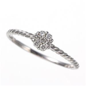 K14WG(ホワイトゴールド) ダイヤリング 指輪  セブンスターリング 15号 h03