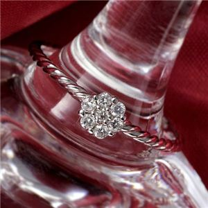 K14WG(ホワイトゴールド) ダイヤリング 指輪  セブンスターリング 19号 - 拡大画像