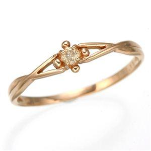 K10 ピンクゴールド ダイヤリング 指輪 スプリングリング 184273 15号 - 拡大画像