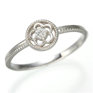 K10 ホワイトゴールド ダイヤリング 指輪 スプリングリング 184285 15号 - 拡大画像