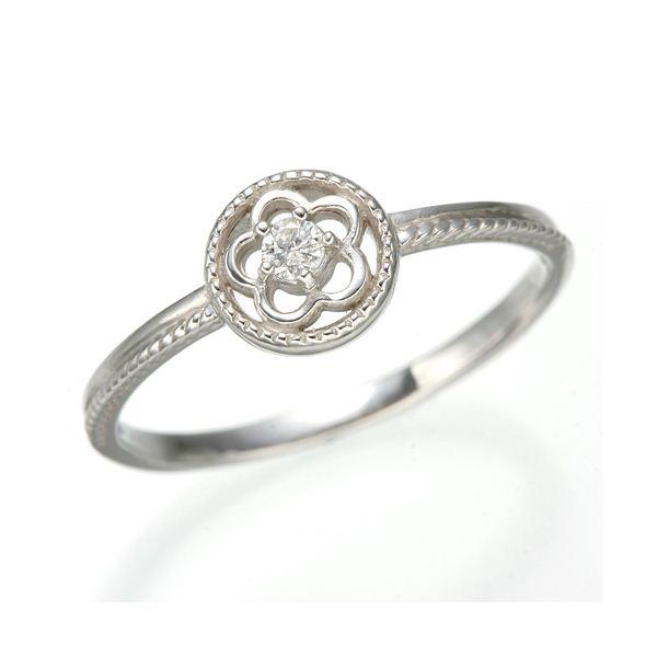 K10 ホワイトゴールド ダイヤリング 指輪 スプリングリング 184285 19号f00