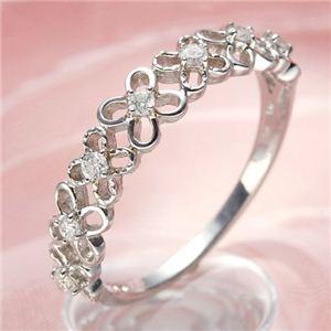 K10WGダイヤリング 指輪 フラワーリング 7号