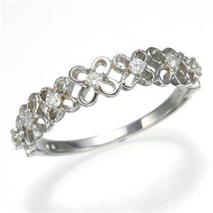 K10WGダイヤリング 指輪 フラワーリング 9号 - 拡大画像