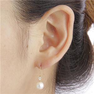 K18あこや本真珠ダイヤモンドピアス フックピアス