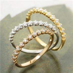 K18 ダイヤハーフエタニティリング ホワイトゴールド 9号 指輪 h03