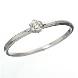 K18 ダイヤリング 指輪 シューリング ホワイトゴールド 15号 - 拡大画像