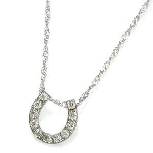 K18WG馬蹄ダイヤモンドペンダント/ネックレス