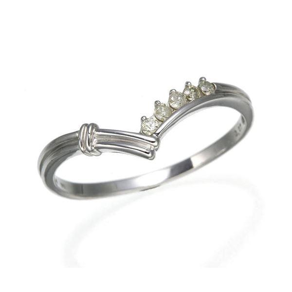 K14ダイヤリング 指輪 Vデザインリング 19号f00